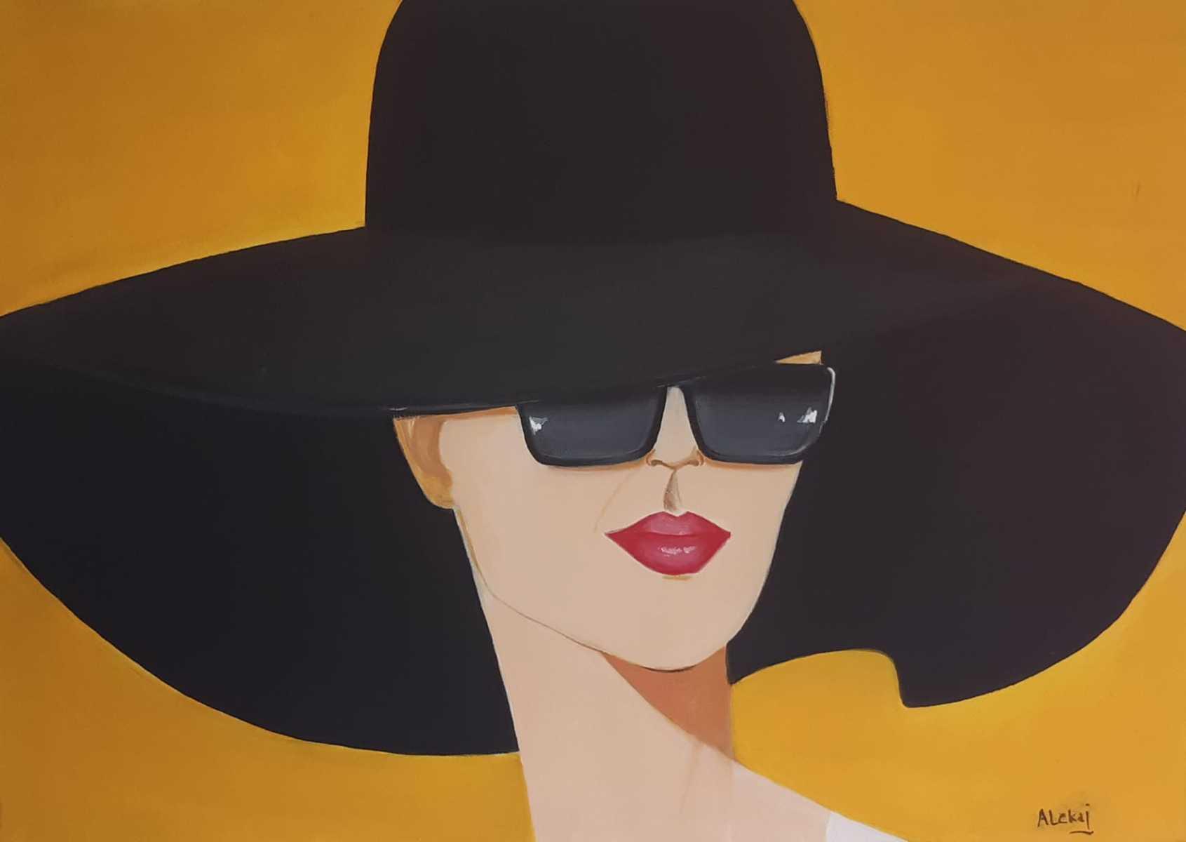 donna col cappello - 70x50